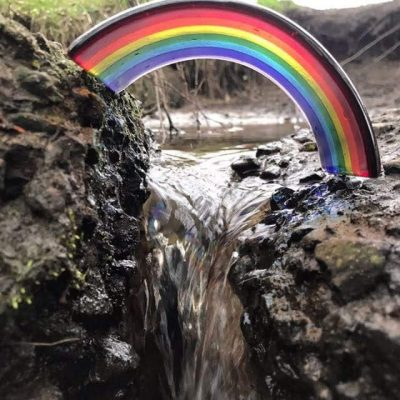Fused Glass Rainbow Arch Bridge by Rainbow Lux Glass