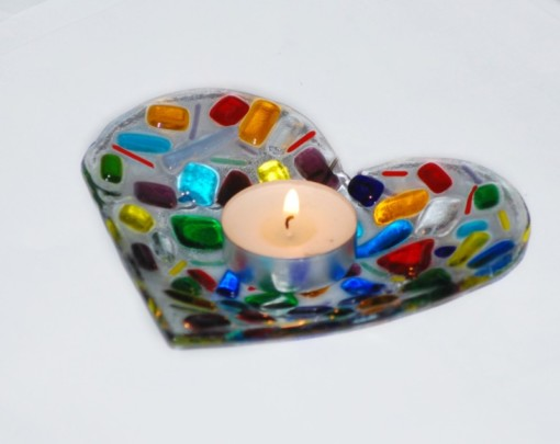 Rainbow Heart Dish by Rainbow Lux Glass