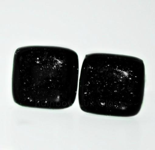 Sparkly Black Cufflinks by Rainbow Lux Glass