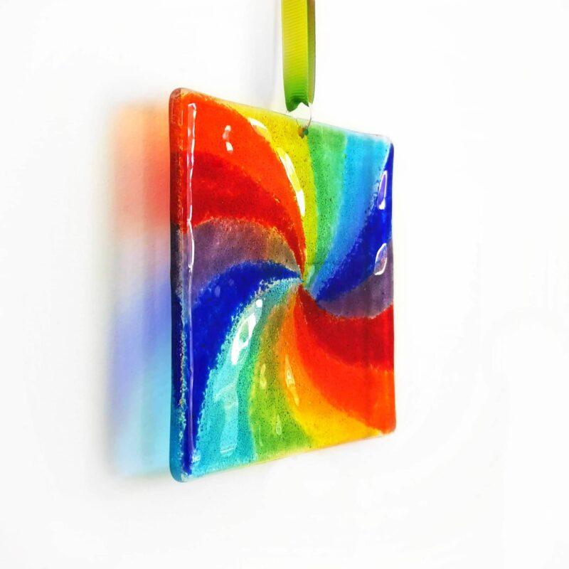Rainbow Swirl Suncatcher - Fused Glass Gift