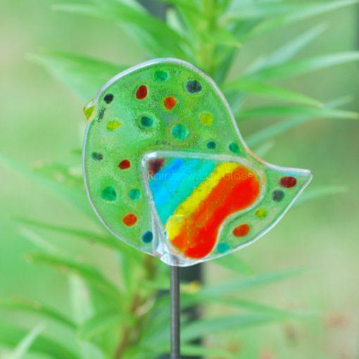 Dotty Bird with Rainbow Heart Wing Garden Stake by Rainbow Lux Glass