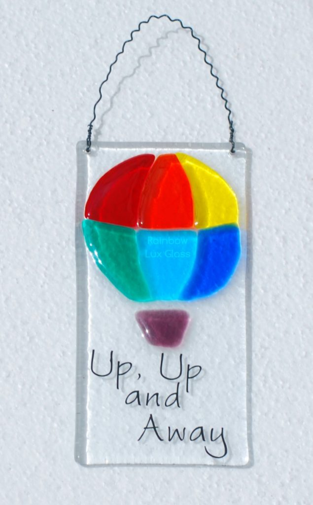 Fused Glass Rainbow Hot Air Balloon Plaque