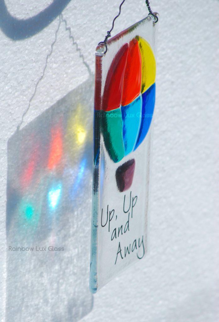 Fused Glass Rainbow Hot Air Balloon