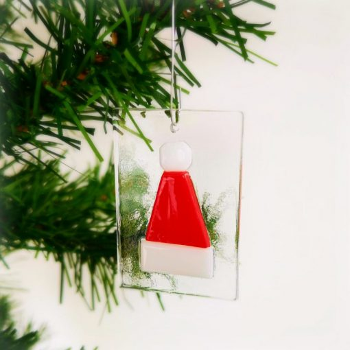 Santa Hat Glass Christmas Decoration