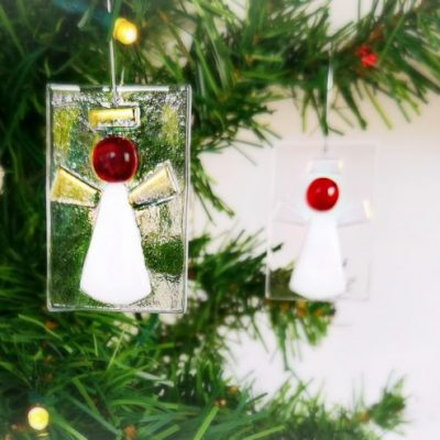 Glass Christmas Angel Decoration