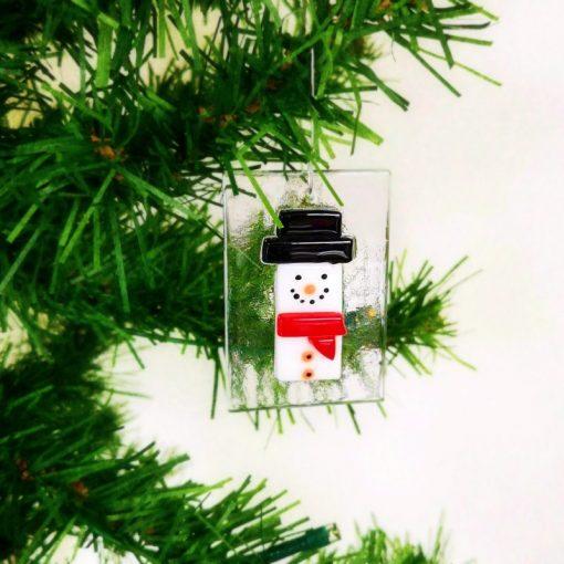 Glass Snowman Christmas Decoration