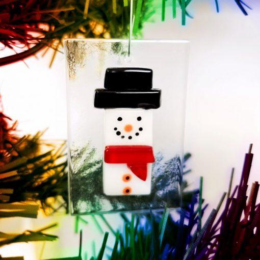 Handmade Glass snowman christmas decoration